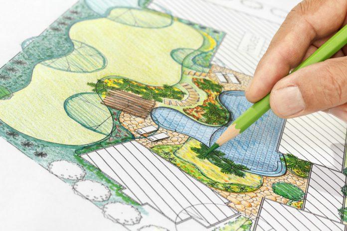 schets van tuinontwerp